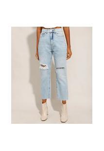 Calça Reta Jeans Tal Mãe Tal Filha Com Rasgos Cintura Super Alta Azul Claro