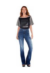 Calça Zinco Lilly Cós Intermediário Barra Desmanchada Jeans