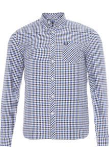 Camisa Masculina Color Gingham - Azul