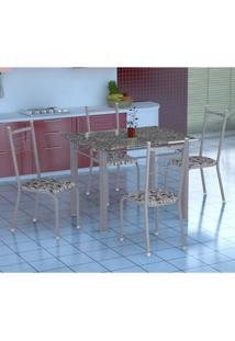 Conjunto De Mesa Gênova Com 4 Cadeiras Lisboa Branco Prata E Branco Floral
