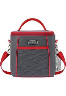 Bolsa Térmica Com Alça G - Cinza Escuro & Vermelha -Jacki Design