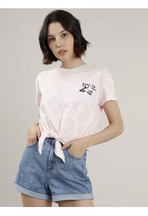Blusa Feminina Estampada Tie Dye Com Nó Manga Curta Decote Redondo Rosa Claro