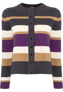 Des Prés Striped Button-Up Cardigan - Estampado