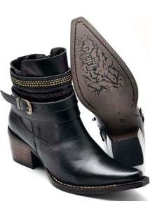 Bota Top Franca Shoes Country Bico Fino Feminina - Feminino-Preto