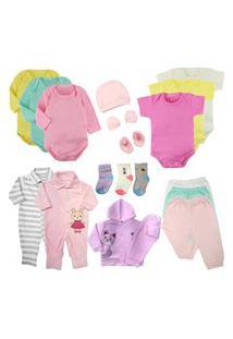 Kit Roupas De Bebê 19 Peças Enxoval Completo Menino E Menina Rosa