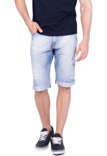 Bermuda Rota Do Mar Jeans Slim Fit Destroyed Azul