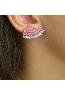 Brinco Ear Cuff Cravejado Com Zircônias Navetes Rosa E Cristal Banhado Em Ródio