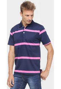 Camisa Polo Mosato Listrada Malha - Masculino-Marinho+Rosa Claro