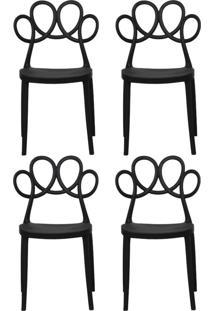 Kit 04 Cadeiras Decorativas Para Cozinha Laço Preto - Gran Belo - Tricae