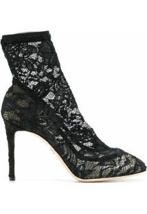 Dolce & Gabbana Ankle Boot De Couro E Renda - Preto