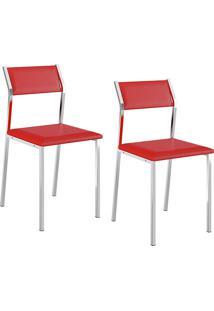 Kit Com 2 Cadeiras Sofia Cromada Napa Vermelha - Carraro