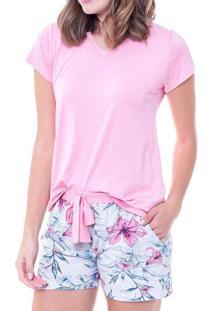 Pijama Feminino Curto Podiun 225044 Rosa-Floral
