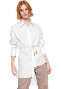 Camisa Sacada Assimétrica Branca