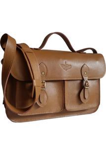 Bolsa Line Store Leather Satchel Pockets Média Couro Caramelo.