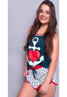Baby Doll 4 Estações Pijama Ancora Com Tapa Olho Feminino Adulto Moda Linha Noite