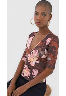 Blusa Lança Perfume Floral Marrom - Kanui