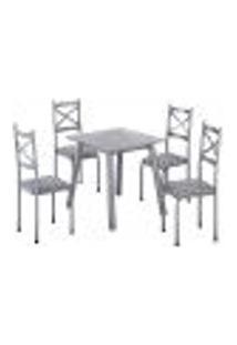 Conjunto De Mesa Com 4 Cadeiras Cris Cinza