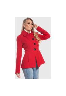 Casaco De Lã Monacri Curto - Vermelho