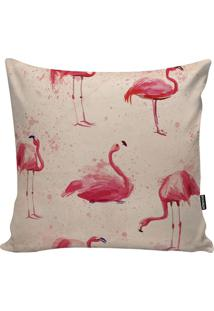 Capa De Almofada Big Flamingo- Bege & Rosa- 45X45Cm