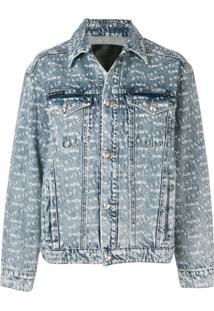 Philipp Plein Jaqueta Jeans Com Logo - Azul