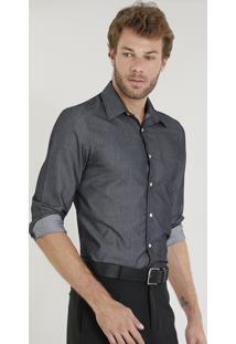 Camisa Masculina Comfort Texturizada Com Bolso Manga Longa Chumbo