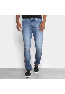 Calça Jeans Slim Calvin Klein Five Pockets Estonada Rasgos Listras Laterais Masculina - Masculino
