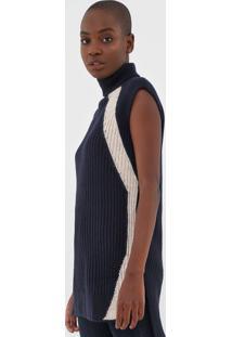 Blusa Calvin Klein Tricot Alongada Azul-Marinho/Off-White - Azul Marinho - Feminino - AcrãLico - Dafiti