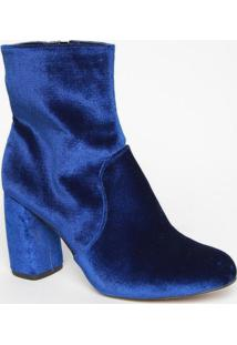 Bota Aveludada- Azul Escuro- Salto: 9Cmmya Haas