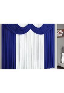 Cortina Riviera 4,00M X 2,80M Para Varão Simples Borda Bordados Enxaovais Azul/Branco