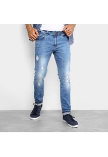 Calça Jeans Skinny Rock & Soda Marmorizada Masculina - Masculino