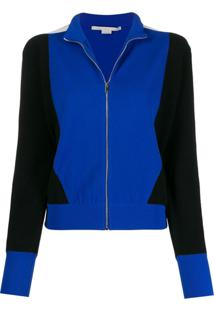 Stella Mccartney Cardigan Color Block Com Zíper - Preto