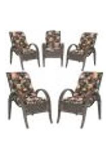 Cadeiras 5Un P/ Jardim Lazer Edicula Varanda Descanso Fibra E Tramas Napoli Plus Pedra Ferro A02