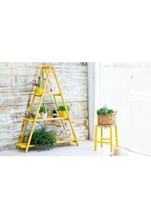 Estante Escada Aquiles Amarela Mão E Formão