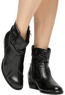 Bota Em Couro Com Recortes & Franzido- Preta- Salto:Shoestock
