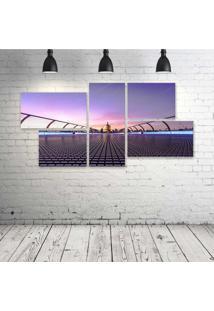 Quadro Decorativo - Millennium-Bridge-London-United-Kingdom - Composto De 5 Quadros - Multicolorido - Dafiti