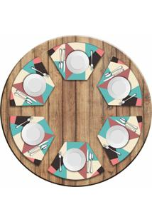 Jogo Americano Love Decor Para Mesa Redonda Wevans Abstract Colors Kit Com 6 Pçs - Kanui