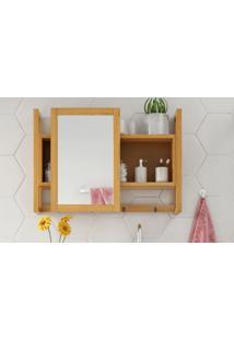 Espelheira / Gabinete Com Espelho Para Banheiro - Armário Aéreo Com Espelho Aquiles - Cor Jatobá - 60X86 Cm