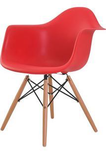Cadeira Eames Eiffel Com Braco Polipropileno Cor Vermelho Base Madeira - 44918 Sun House