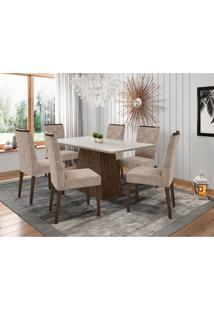 Conjunto De Mesa De Jantar Com Tampo De Vidro Jasmin E 6 Cadeiras Caroline Animalle Off White E Bege