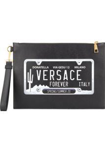 Versace Clutch Com Estampa De Logo - Preto