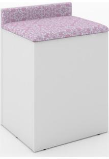 Puff Baú Com Encosto Tecno Mobili Branco/Rosa