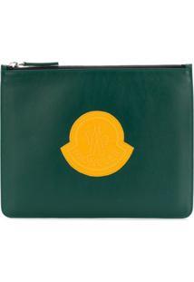 Moncler Clutch De Couro Com Logo - Green