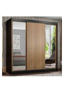 Guarda-Roupa Casal Madesa Reno 3 Portas De Correr Com Espelhos Cor:Preto/Rustic
