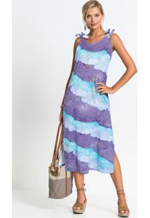 Vestido Com Fendas Tie Dye Roxo/Azul
