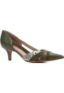 Scarpin Couro Shoestock Salto Baixo Bico Fino Mix Materiais - Feminino-Verde