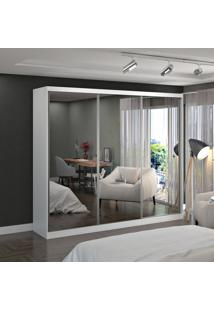 Guarda Roupa Casal 3 Portas C/ 3 Espelhos 100% Mdf Branco Foscarini