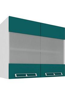 Armário Aéreo Com 2 Portas De Vidro 80Cm Art In Móveis Mia Coccina Branco/Verde