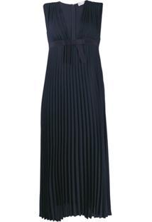 Redvalentino Vestido Midi Com Pregas - Azul
