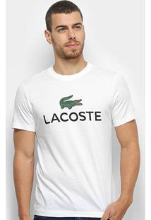 Camiseta Lacoste Logo Masculina - Masculino-Branco