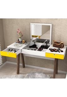 Penteadeira Escrivaninha Com 2 Gavetas Pe2002 - Tecno Mobili - Branco / Amarelo